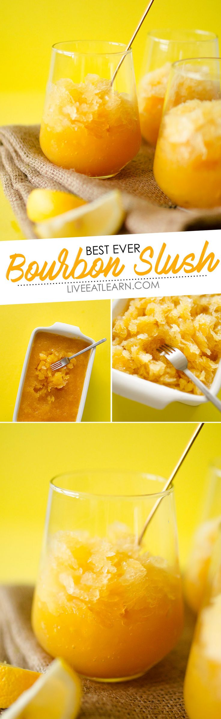 This Bourbon Slush Recipe comes together in minutes. Mix, freeze, and forget! The perfect easy cocktail idea for keeping on hand in case of impromptu parties and family get togethers. A great summer treat! // Live Eat Learn