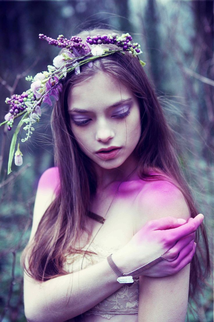 Purple in the Echanted Woods/Forest. Fantasy Photography.  - #wedding #flowercrown spotted on pinterest by the wedding venue team at www.huntshamcourt.co.uk