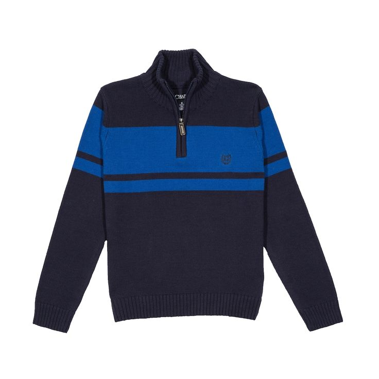 Boys 8-20 Chaps Quarter-Zip Chest Stripe Sweater, Size: 18-20, Blue Other