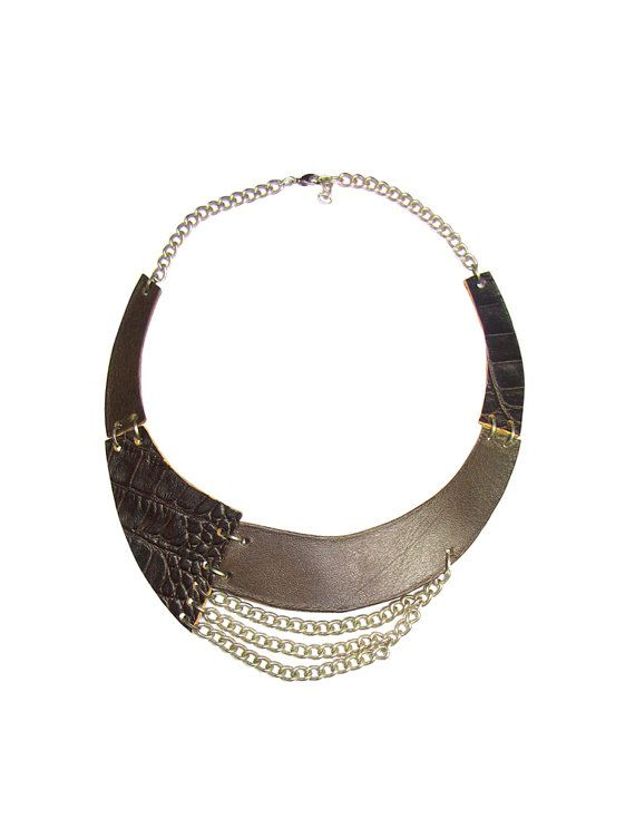 Dark Brown Leather Necklace  Bib Necklace  genuine by FILIZASLI, $37.50