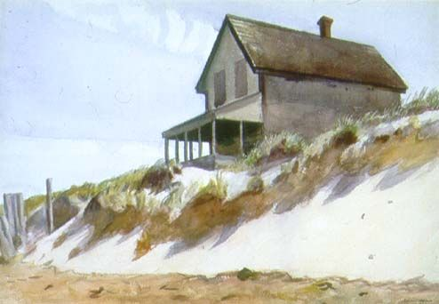 "Edward Hopper -  ""House of Dune, South Truro""  ca. 1931  watercolor over pencil"