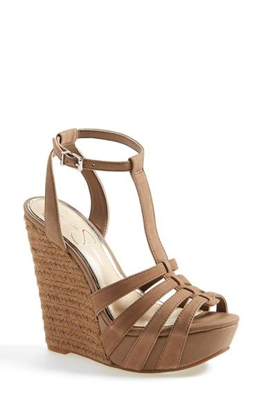 Free shipping and returns on Jessica Simpson 'Bristol' Ankle Strap Platform Wedge Sandal (Women) at Nordstrom.com. Supple leather straps in a natural hue play beautifully against a jute-wrapped wedge on an alluring sandal topped with a flattering, slim ankle strap.