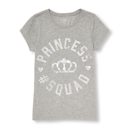 s Short Sleeve Puff Paint 'Princess Squad' Graphic Tee - Gray T-Shirt - The Children's Place