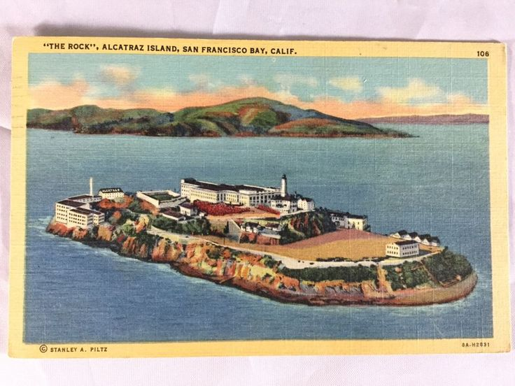 Vintage Alcatraz Island Federal Prison San Francisco Bay postcard marked 1945