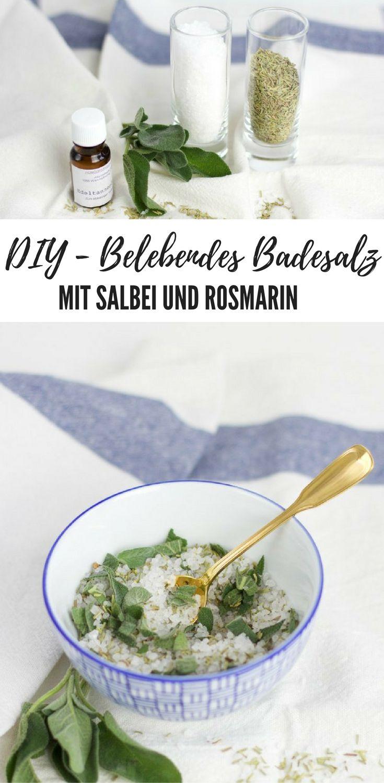 DIY - Belebendes, veganes Kräuter-Badesalz mit salbei und Rosmarin #vegan #Doityourself #Kosmetik
