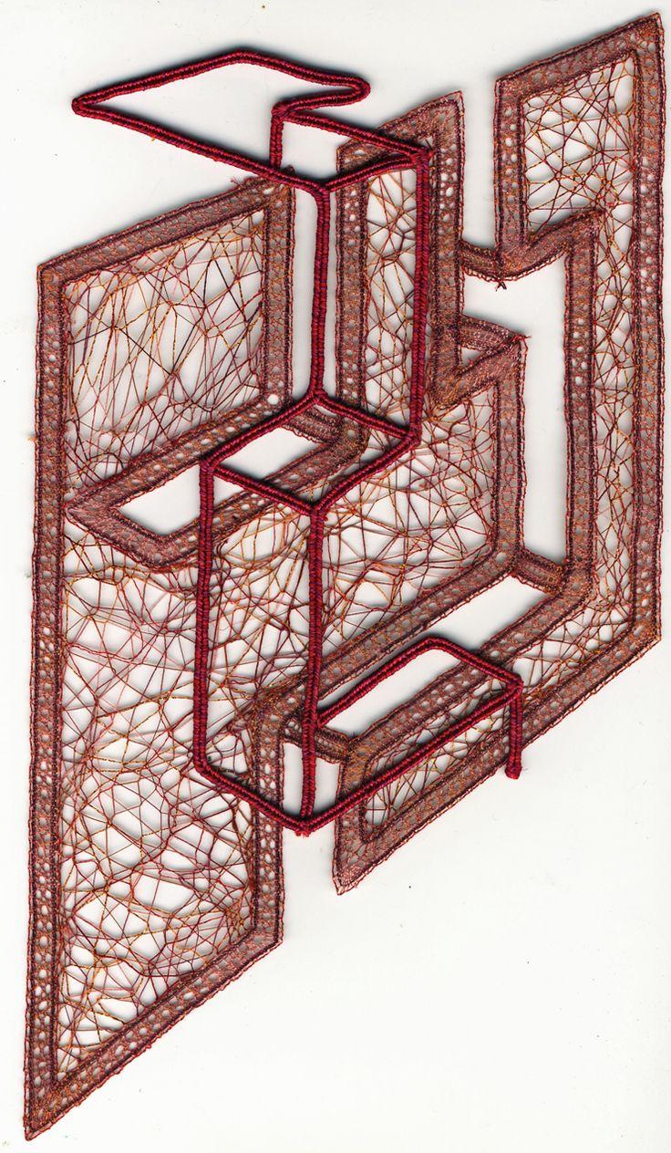 Bobbin lace.Intéressant travail de perspective et d'illusion.