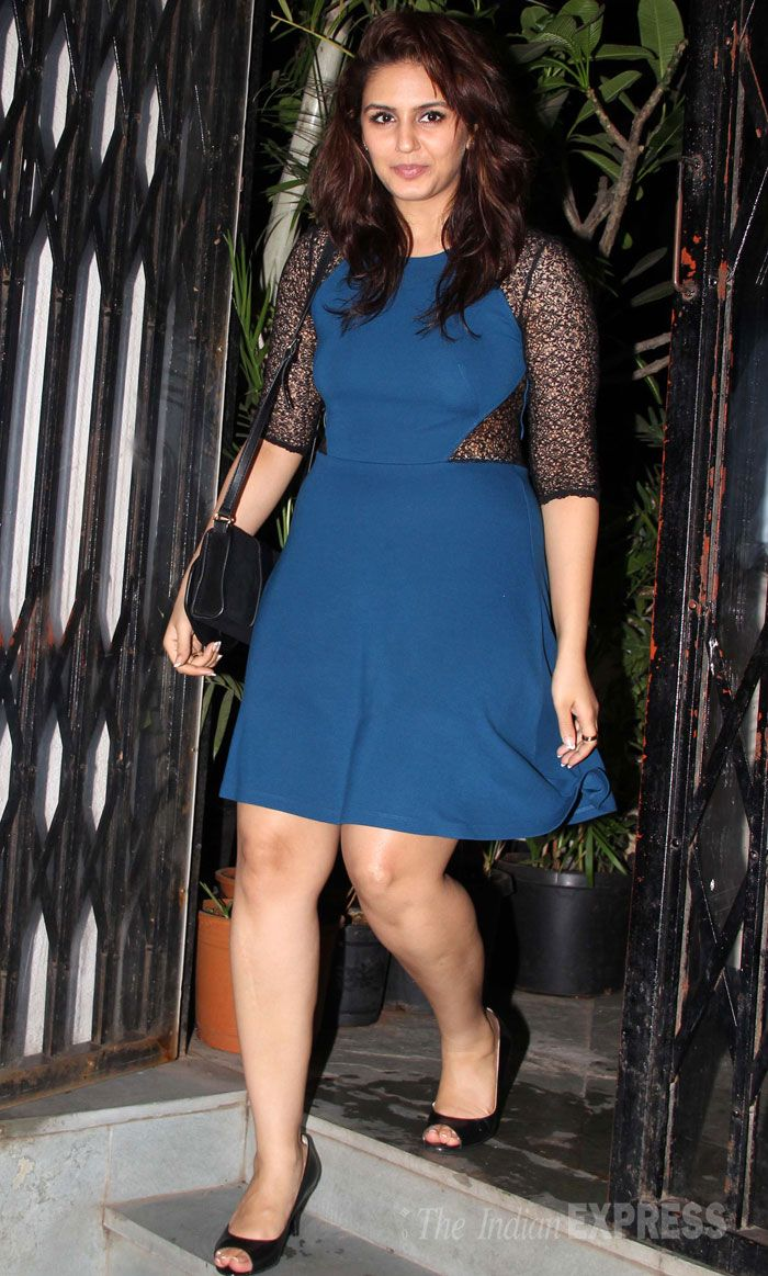 Huma, who will be seen in upcoming film 'Dedh Ishqiya', was pretty in a blue dress with mesh sleeves and black peep-toes. (Photo: Varinder Chawla)