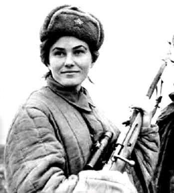 Lyudmila Mikhailivna Pavlichenko - Sniper, Russian Red Army, WWII: Pavlichenko's officially confirmed kills amounted to a total of 309 (over 500 counting unconfirmed) this amazing figure also included 36 German snipers ( one of whom had himself notched over 500 kills after she retrieved his detailed log book after killing him ) and many high ranking German Officers. http://www.vincelewis.net/sniper.html