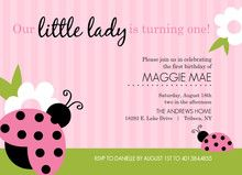 Lady Bug Green and Pink 1st Birthday Invitation by Invite Shop. Invite everyone to your little lady's first birthday party with this adorable ladybug party invitation! #1stbirthday #inviteshop #ladybug
