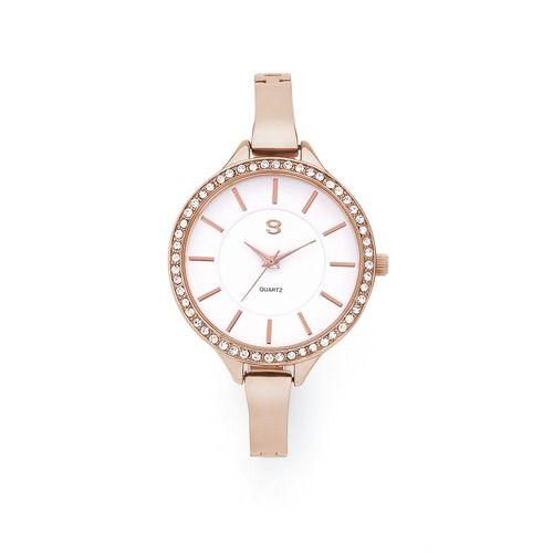G Ladies Rose Tone Round Stone Set Bezel Bangle Bracelet Watch