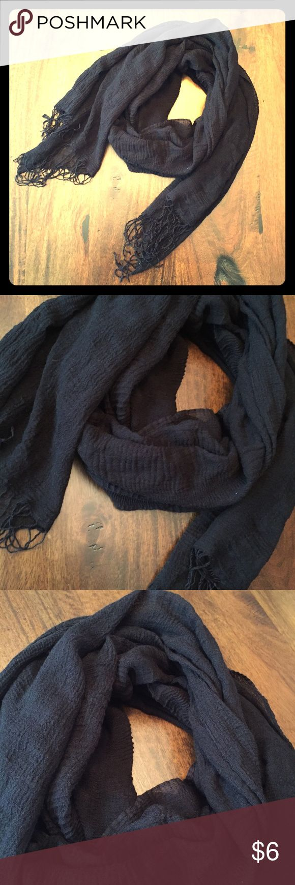 Black Textured Fashion Scarf Sashay into style with this solid black textured fashion scarf! This sassy scarf has a crinkled texture and funky fringe to keep your look legit. Lightweight. 100% acrylic. One size. Accessories Scarves & Wraps