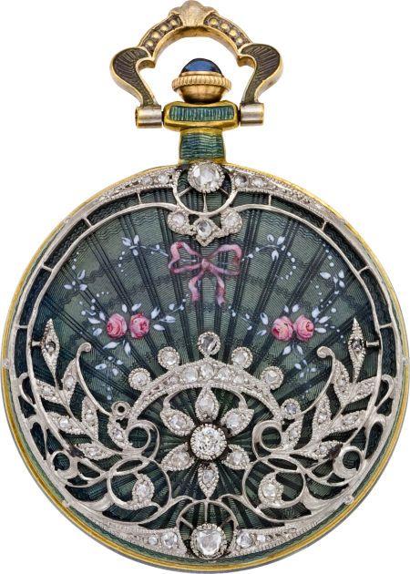 Sapphire, diamond, enamel, silver and gold pocketwatch, circa 1910, Swiss.