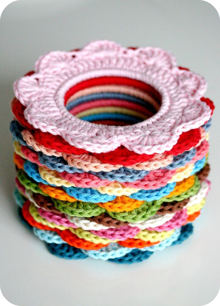 crocheted flower rings