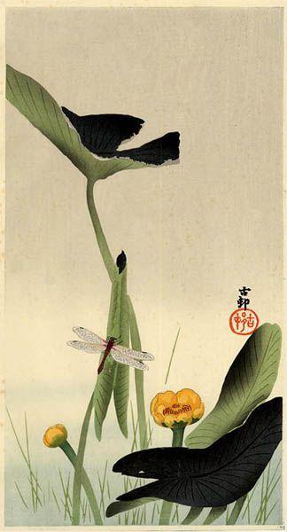 Ohara Koson, Dragonfly and Lotus