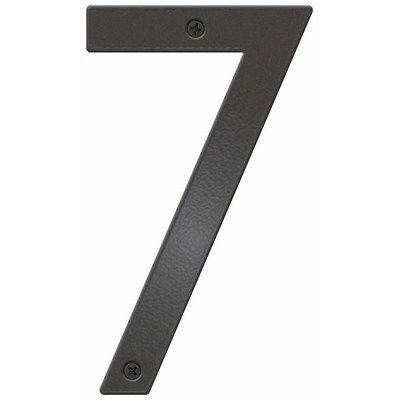 """Craftsman House Number Color: Bronze, Letter: 7 by Blink Manufacturing. $27.99. BCN-7-DZ Color: Bronze, Letter: 7 Features: -UV protected against fading.-Maintenance free.-Highly visible 5"""" H.-Made in the USA. Includes: -Includes 0.5"""" standoffs for dimensional look. Construction: -Constructed of 16 gauge galvanized steel; will not rust. Warranty: -One year manufacturers warranty."""