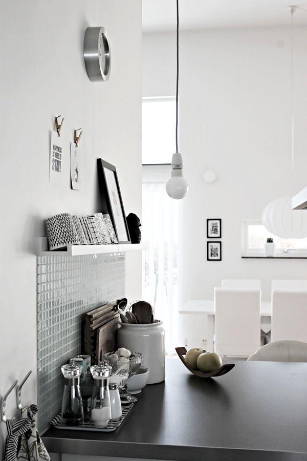#interior #styling #decor #kitchen #scandinavian #BW #black #white #tiles #pendant #bulb