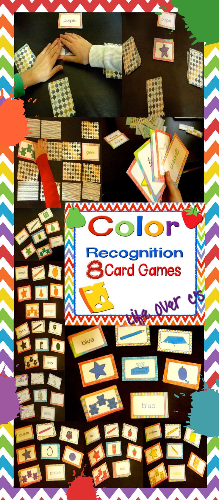 Color games for pre k - Color Recognition 8 Card Games For Literacy Math Centers
