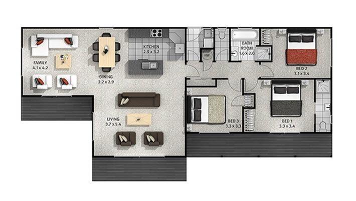 Casas de un piso y tres dormitorios   Construye Hogar
