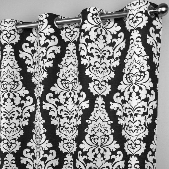 Elegant Black White Berlin Large Scale Damask Curtains Grommet 84