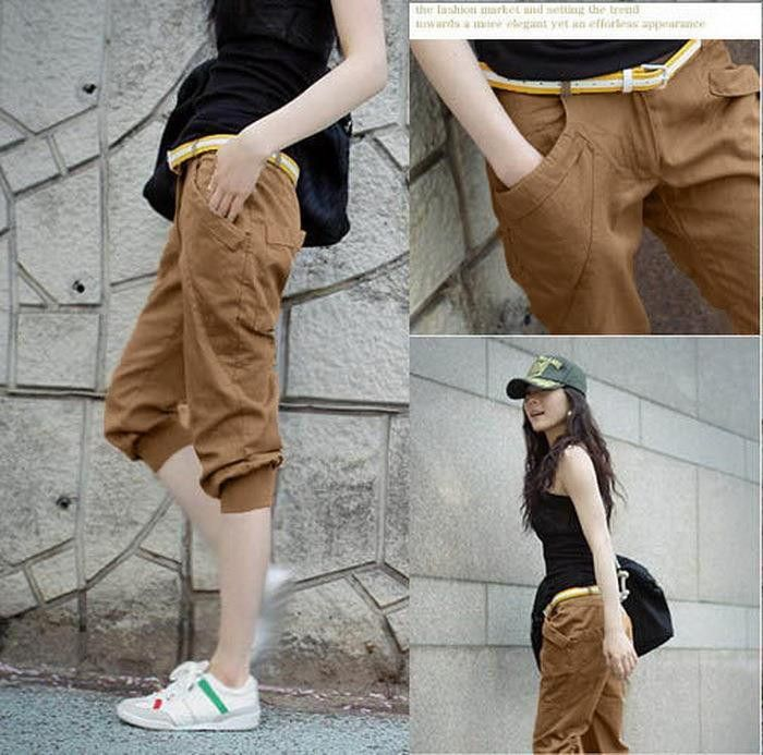TLZC Classic Lady Fashion Khaki Harem Pants Plus Size L-5XL New 2016 Summer Women Casual Capris & Short Trousers