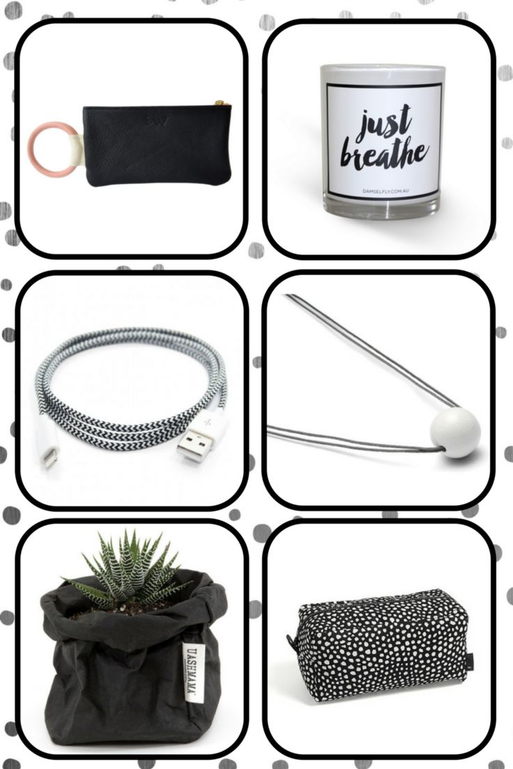 gift ideas as clear as black & white.  find them all @bibelotandtoken!  clockwise from top left:  #daniellewright o-handle pouch #damselfly just breathe candle #louisekragh pearl & cord necklace #wrongforhay dot wash bag #uashmama matte black bag in medium #easterncollective executive lightning cable