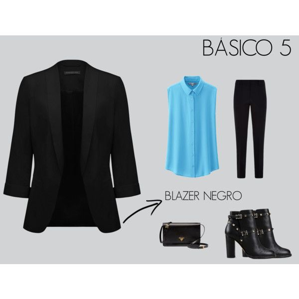BASICO BLAZER NEGRO by marisol-fernandez-zumba on Polyvore featuring polyvore fashion style Uniqlo Forever New Armani Collezioni Valentino Prada