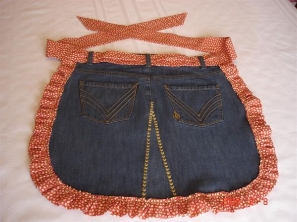 Apron made from repurposed jeans skirt back..
