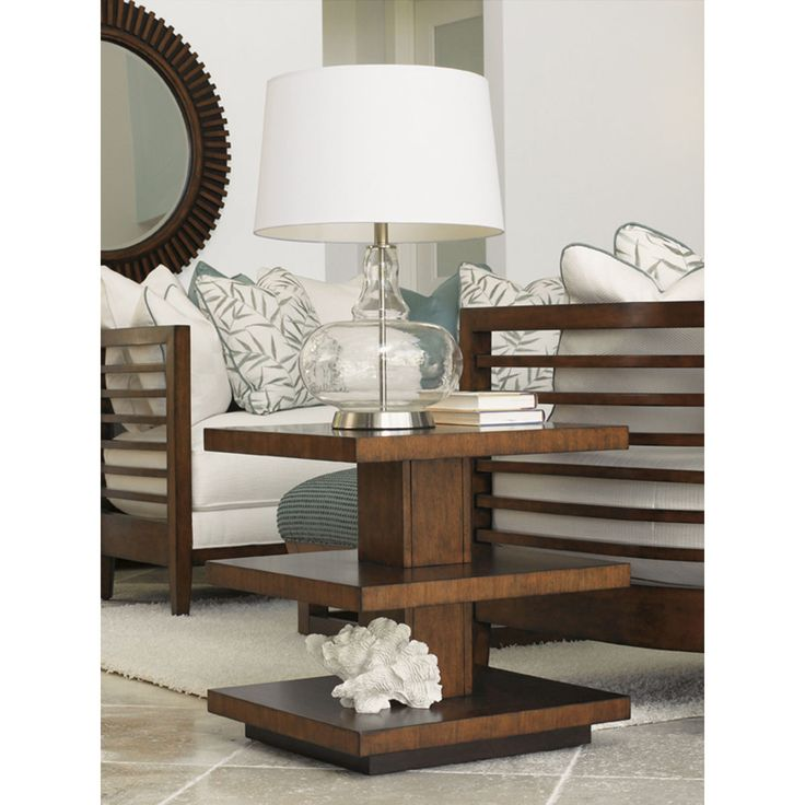 Tommy Bahama Ocean Club Lagoon Lamp Table In Bali/Dark Walnut