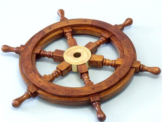Wood and Brass Ship Wheel 15 Ship's Wheels by NauticalBeachDecor