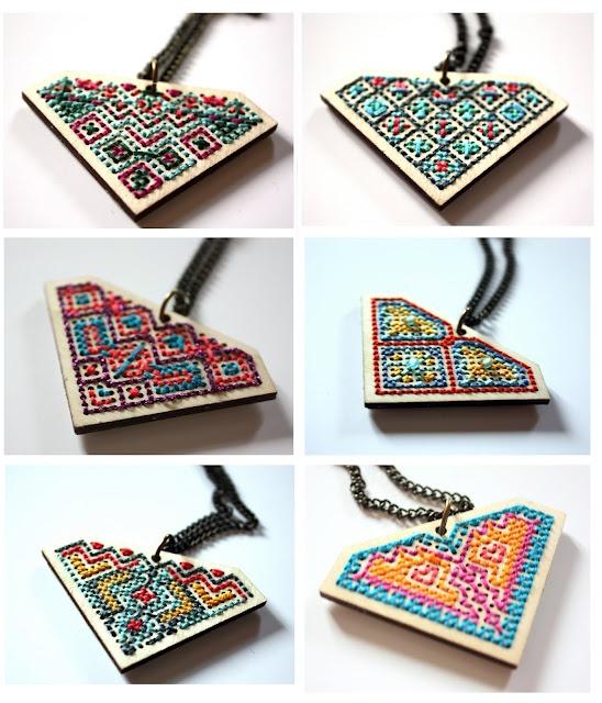 Geometric cross stitched pendant