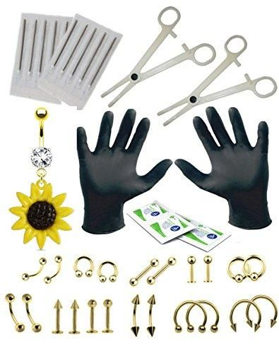BodyJ4You Body Piercing Kit Sunflower Belly Ring Goldtone Tongue Tragus Ear Eyebrow 36 Pieces