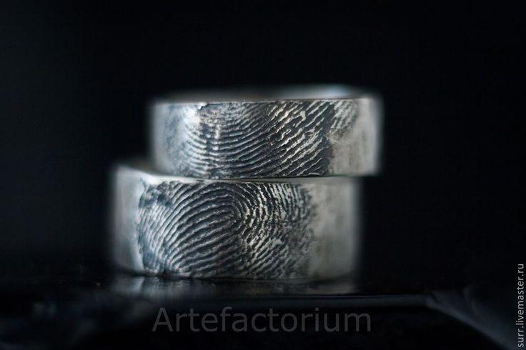 Купить Обручальные кольца с Вашими отпечатками пальца - серебряный, золото, отпечаток, пальцы, серебро