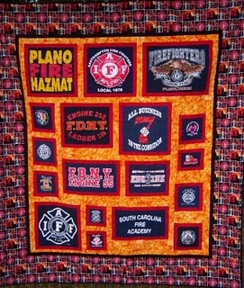 Fire Department T-Shirt Quilt, I would love to make this with all the departments I dispatch for...