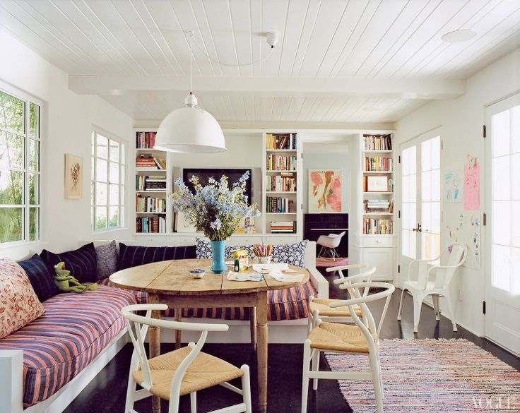 painted wood paneling: Dining Rooms, Decor, Wishbone Chairs, Living Rooms, Benches, Breakfast Nooks, House, Amanda Peet