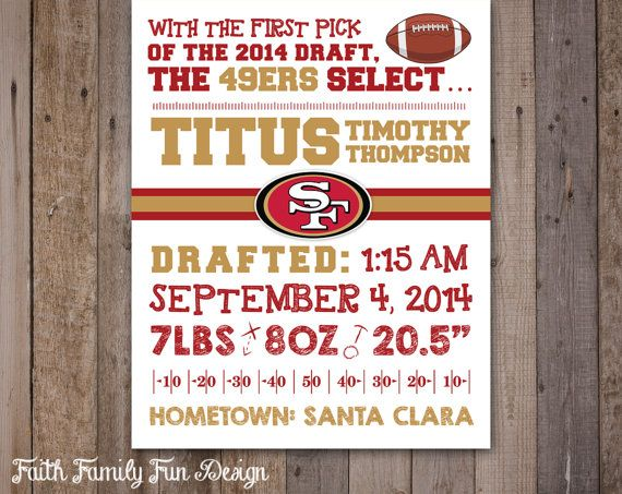 39 best NFL Birth Announcement Wall Art images – Football Birth Announcements