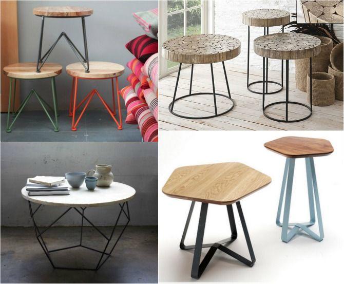 Mesitas auxiliares mesas metal madera aticosinascensor metal madera pinterest mesas and - Mesitas auxiliares de salon ...