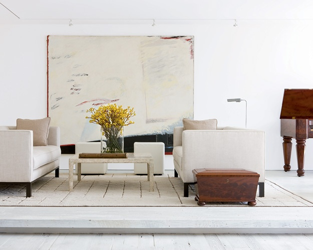i think this is darryl carter. again, white, airy, natural finishes and a big ole piece of art. cannot go wrong.