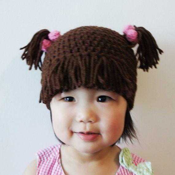 Monster Hat, Boo, Girl, Crochet Monster Hat, Crochet Baby Hat, Animal Hat, Brown, photo prop, Inspired by Monsters Inc