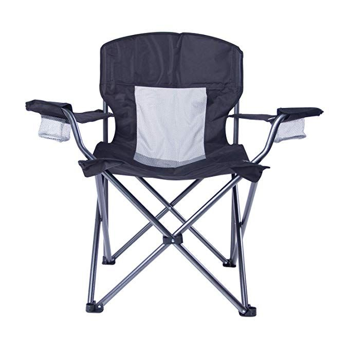 Lch Outdoor Camping Chair Oversized Support 300lbs Folding Padded Chair Mesh Back Heavy Duty Comfort With Two Cup Holders And Ar Camping Chair Chair Pads Chair