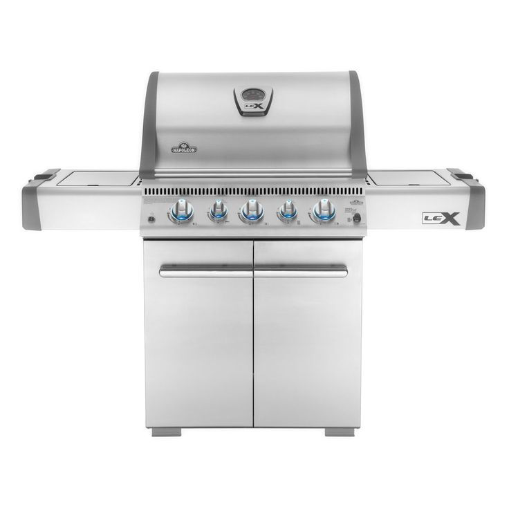 Napoleon Lex485 Series 5 Burner Gas Barbecue RRP: £1199.99   Save 25%  £899.99  or £67.50 per month 5 stainless steel burners with stainless flavour bars and wave style cooking grids. One side shelf houses and infrared sizzle zone side burner ideal for sauces but can double as a sear station for steaks etc.