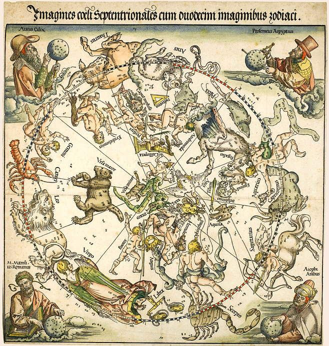 Albrecht Dürer, Northern Hemisphere Star Map. The four corners of the northern hemisphere map contain portraits of astronomer/astrologers: Top left Aratus 4th century BCE author of the Pænomena an astronomical poem. Top right is Ptolemaeus. Bottom left is Manilius a 1st century CE Roman astrologer, whose astrological poem Astronomica Regiomontanus had published in Nürnberg in 1473. Bottom right is the 10th century CE Persian astronomer al-Sufi, author of a famous star catalogue.