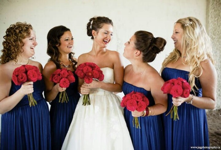 Navy Blue Dresses With Red Flowers