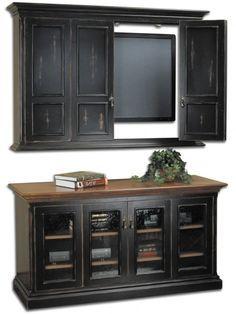 hillsboro flat screen tv wall cabinet u0026 console antique brass teardrop pulls black