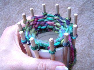 DIY knitting loom spool from PVC pipe & dowels.