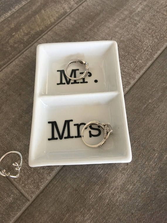 Ring dish - His and Hers - Wedding Gift - Mr & Mrs - Mr. and Mrs. - Wedding Ring - Engagement Gift Great little dish to keep your jewelry in. Keep it on your nightstand or on your vanity. Small enough to place multiple places (By the kitchen sink where I always take mine off