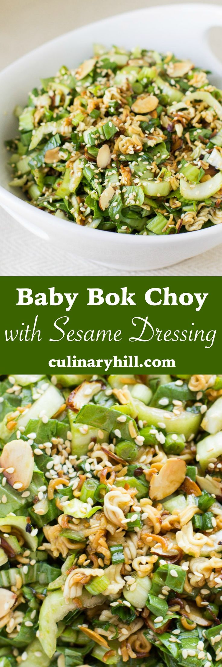 Baby Bok Choy with Sesame Dressing - Whether you're new to baby bok choy or an old fan, you'll love this crunchy salad! All ingredients can be prepped ahead of time and assembled in minutes.
