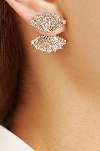 Rose gold, diamond studded fan earrings. Interesting design! #diamond #earrings #heartindiamond