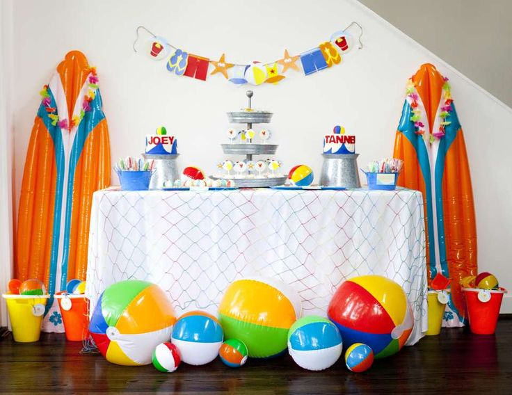 """Beach / Birthday """"It's a Beach Bash.....2nd Birthday Party for Joey & Tanner""""   Catch My Party"""