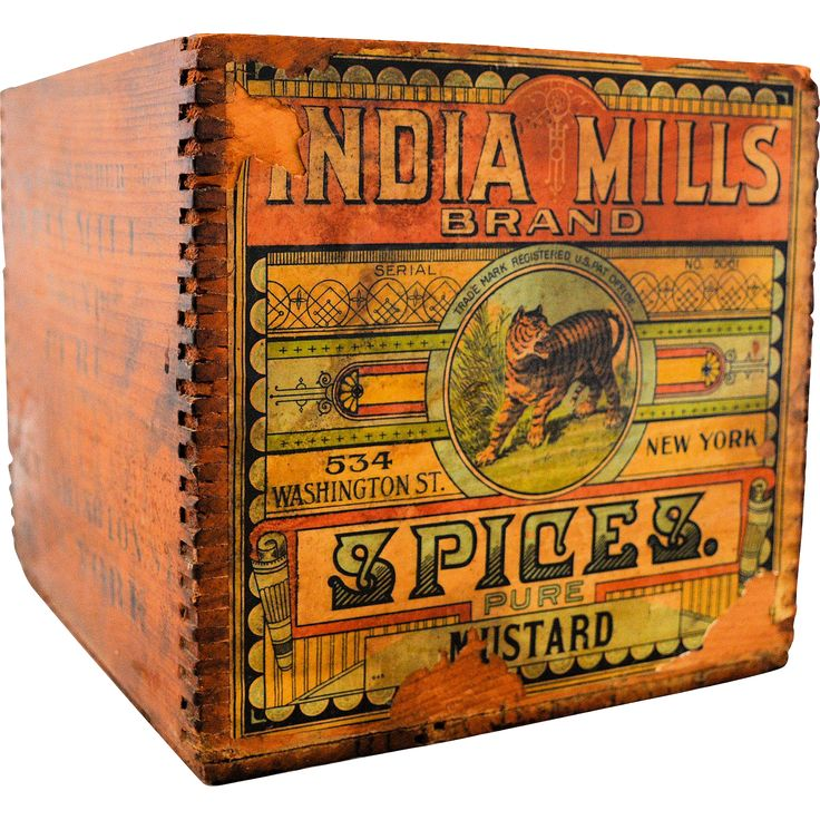 Wooden Advertising Box India Mills Brand Spices Pure Mustard Original Paper Label Vintage from @antikavenue on @rubylane #vintage #advertising #vintageadvertising