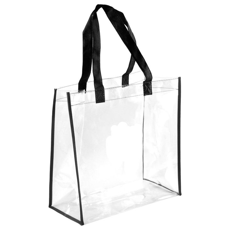 """NFL Clear Tote See Through Tote Transparent Bag NFL Stadium Approved PGA Compliant. Meet NFL stadium and PGA tournament requirement. Dimension: 12""""Lx12""""Hx6""""W. 2 handles can also use as shoulder straps. Transparent all around. Clear pvc with black trim."""